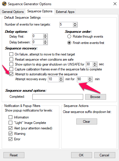 Tools Options Sequence Options Recovery